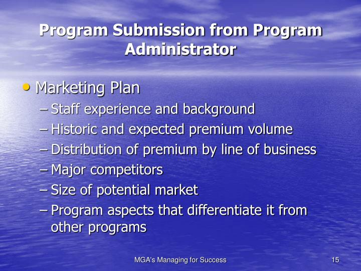 Program Submission from Program Administrator
