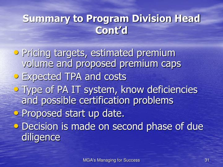 Summary to Program Division Head Cont'd