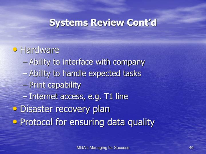 Systems Review Cont'd