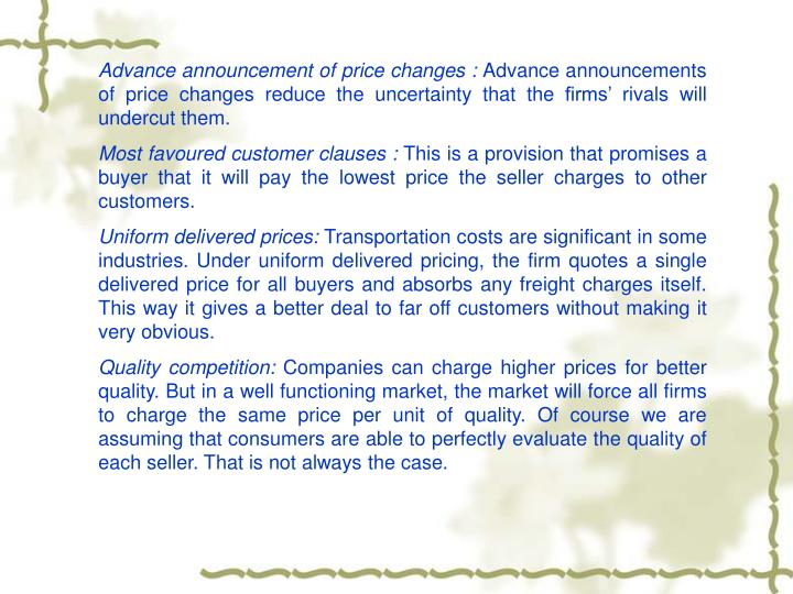 Advance announcement of price changes :