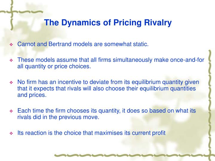 The Dynamics of Pricing Rivalry