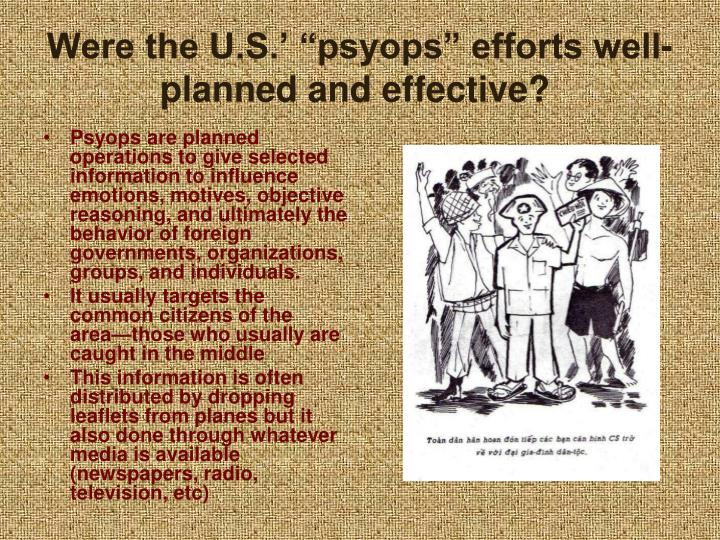 """Were the U.S.' """"psyops"""" efforts well-planned and effective?"""