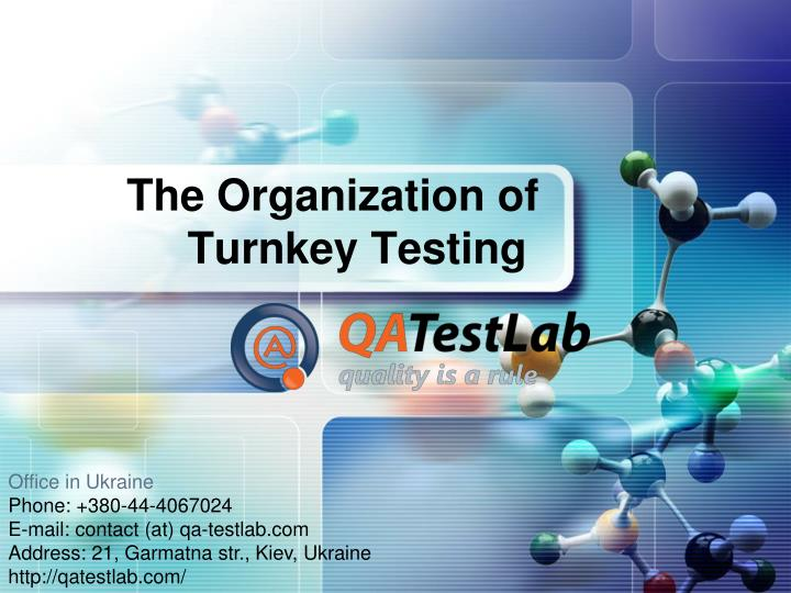 The o rganization of turnkey testing
