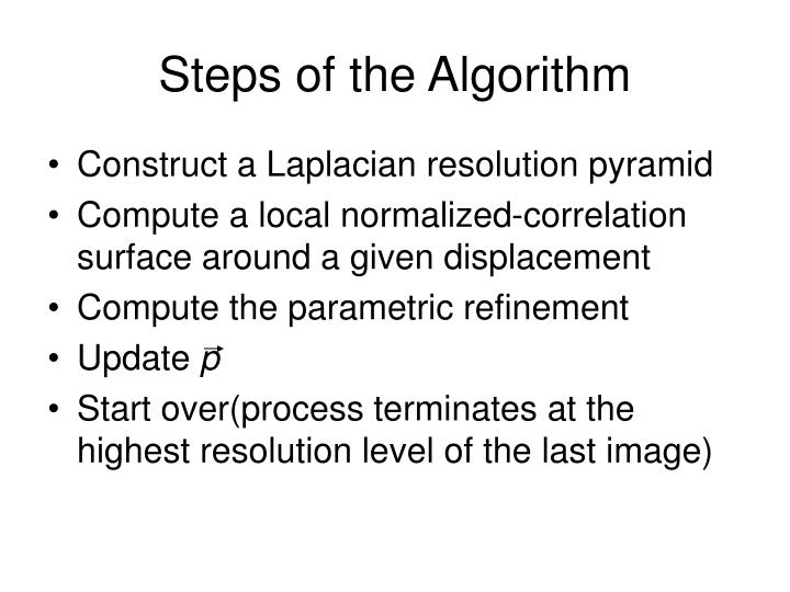 Steps of the Algorithm
