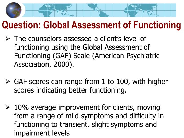 Question: Global Assessment of Functioning