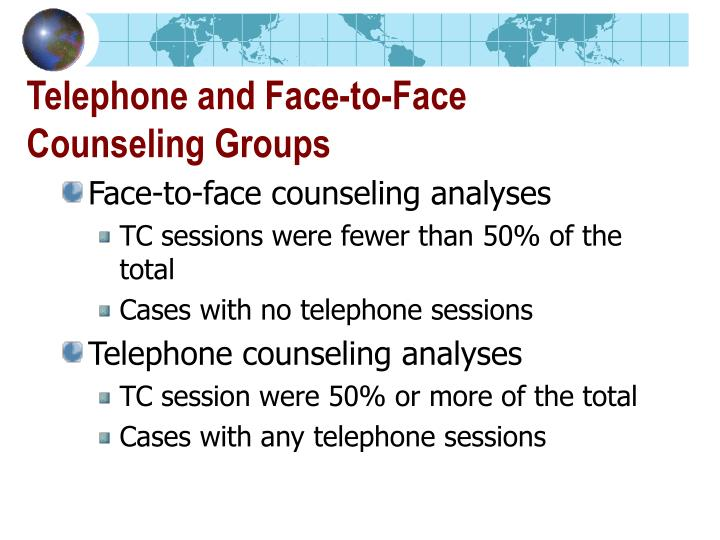 Telephone and Face-to-Face Counseling Groups