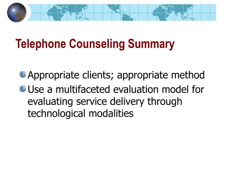 Telephone Counseling Summary