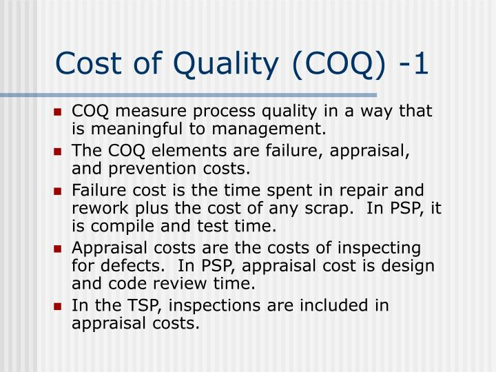 Cost of Quality (COQ) -1