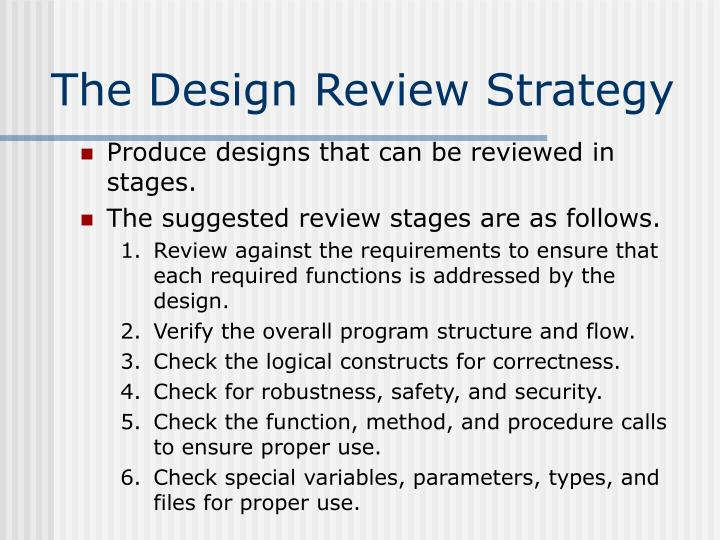 The Design Review Strategy