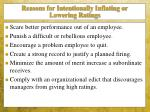 reasons for intentionally inflating or lowering ratings1