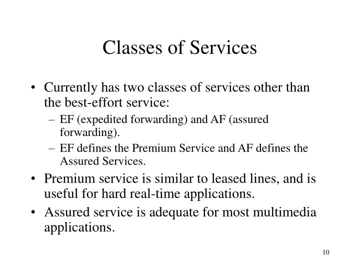 Classes of Services