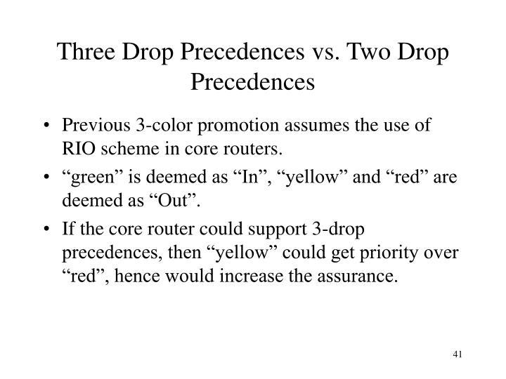 Three Drop Precedences vs. Two Drop Precedences