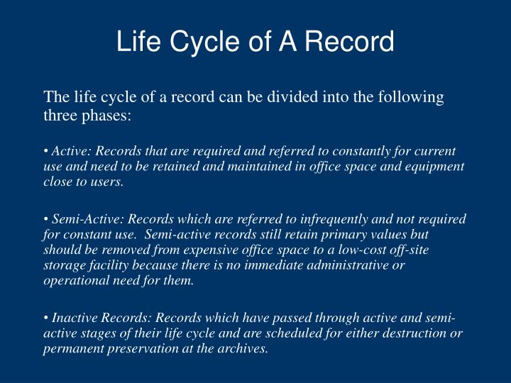 Life Cycle of A Record