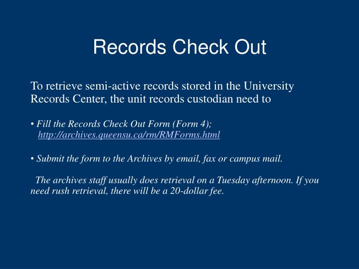 Records Check Out