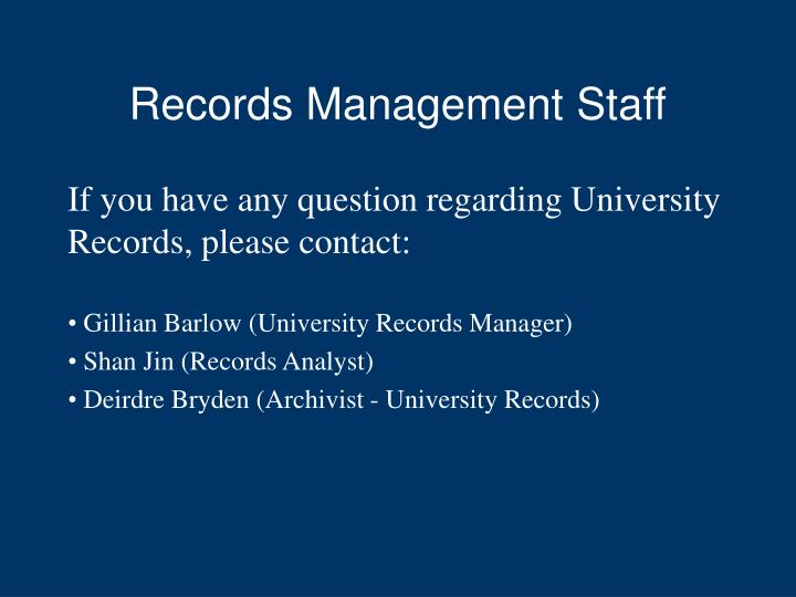Records Management Staff