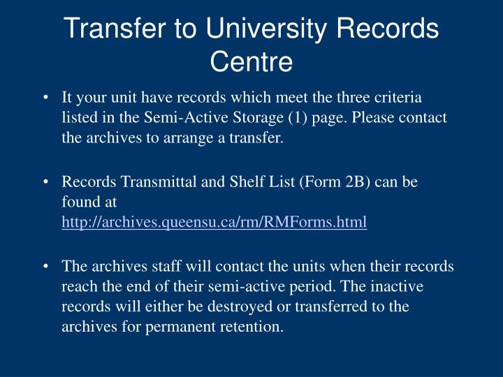 Transfer to University Records Centre