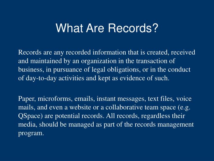 What are records