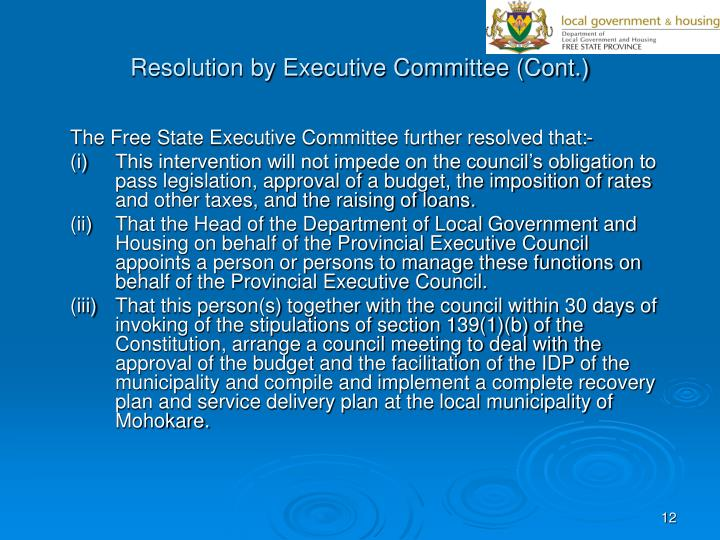 Resolution by Executive Committee (Cont.)