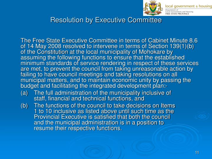 Resolution by Executive Committee