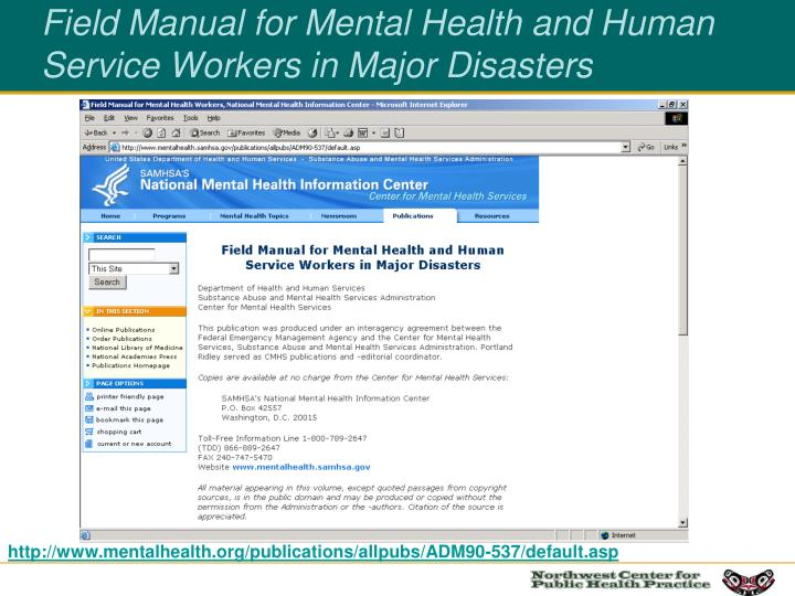 Field Manual for Mental Health and Human Service Workers in Major Disasters