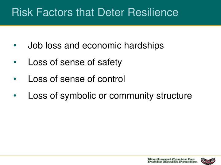 Risk Factors that Deter Resilience