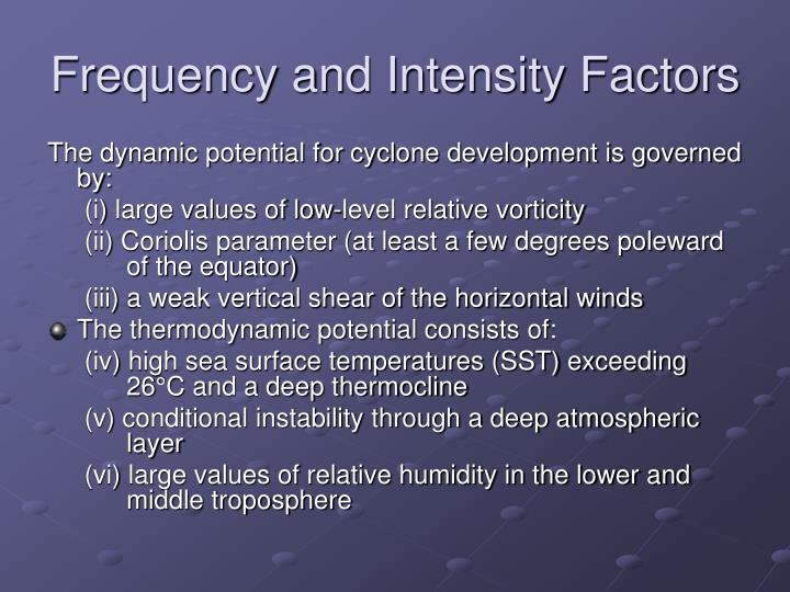 Frequency and Intensity Factors