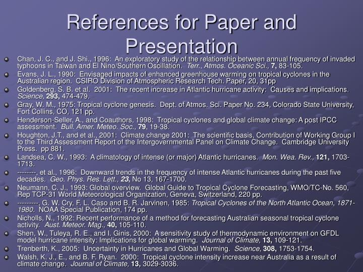 References for Paper and Presentation