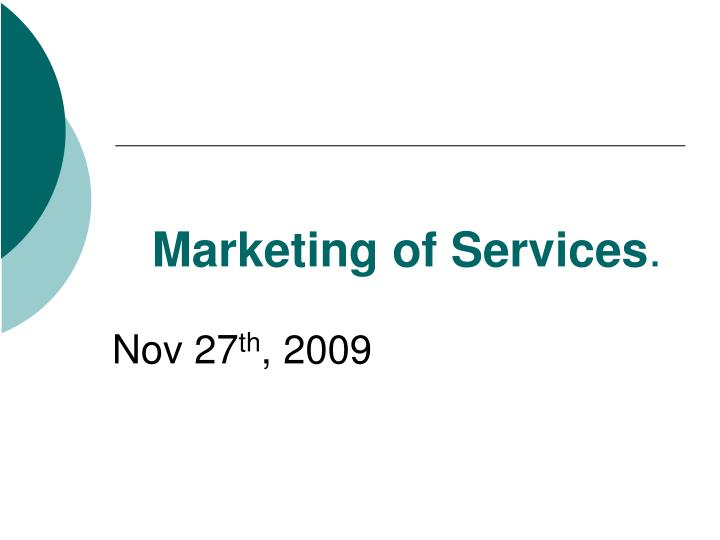 marketing of services n.