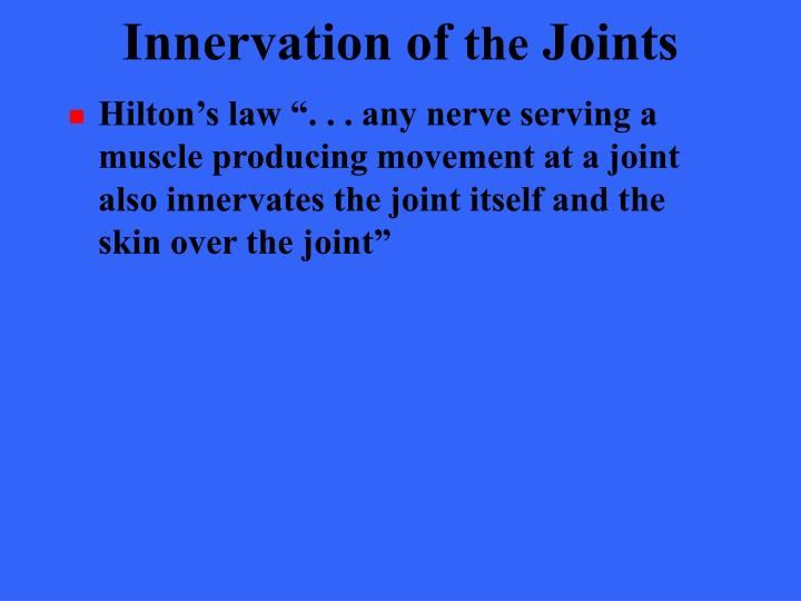 Innervation of
