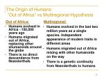 the origin of humans out of africa vs multiregional hypothesis