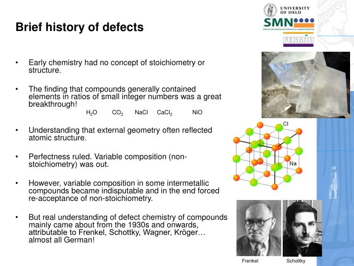 Brief history of defects