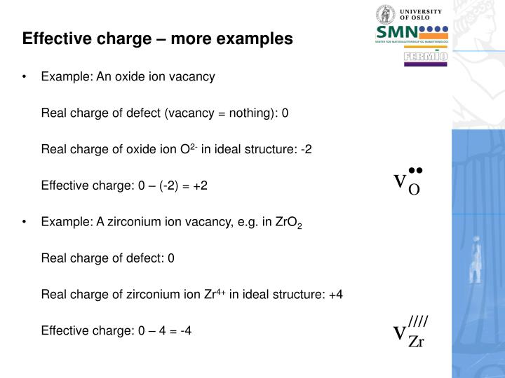 Effective charge – more examples