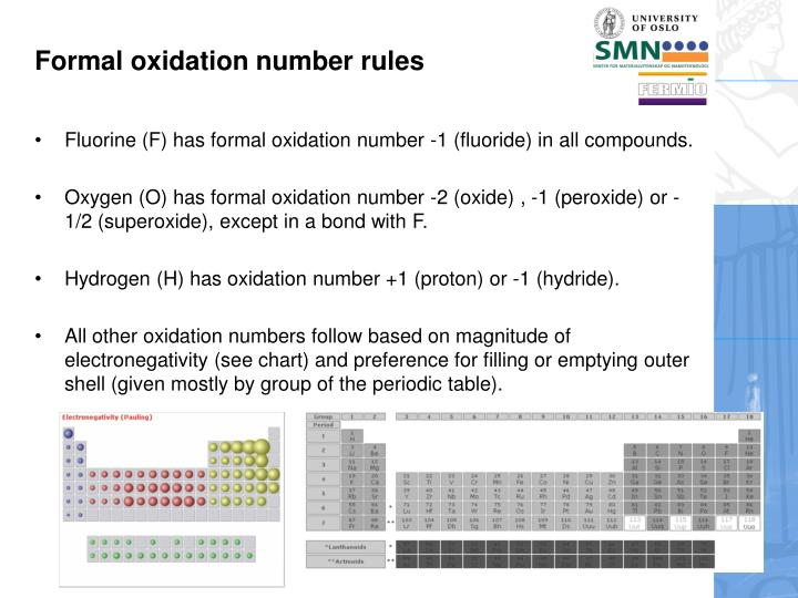 Formal oxidation number rules
