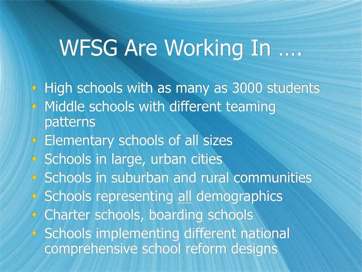 WFSG Are Working In ….