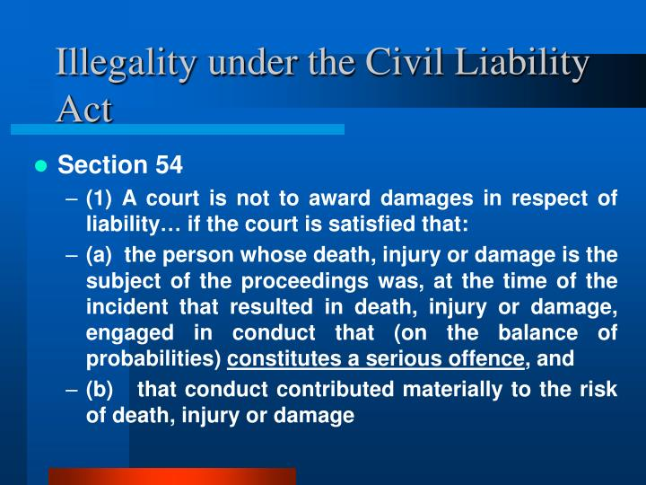Illegality under the Civil Liability Act