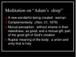 meditation on adam s sleep