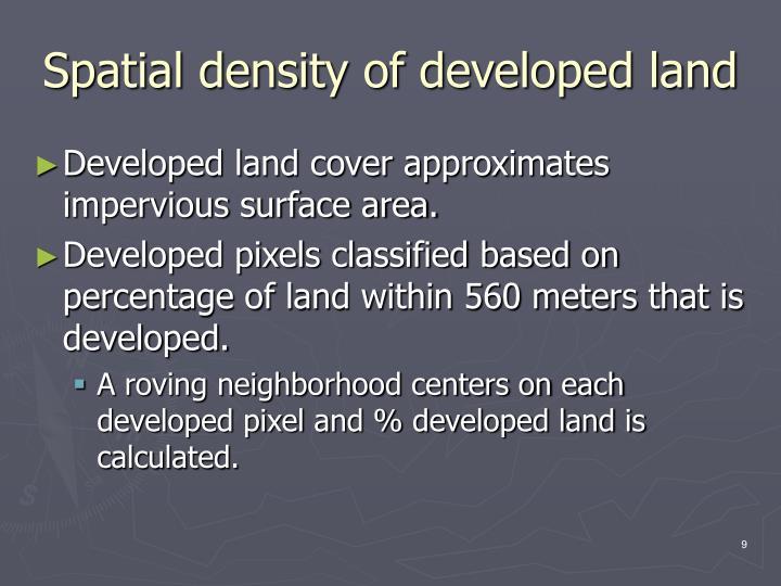 Spatial density of developed land