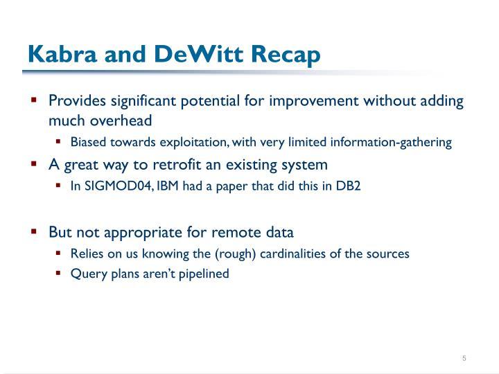 Kabra and DeWitt Recap