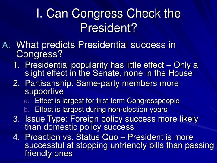 I can congress check the president