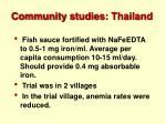 community studies thailand