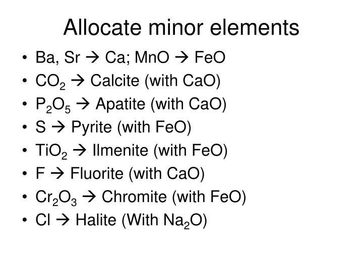 Allocate minor elements