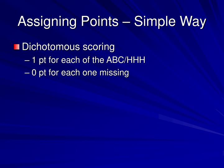 Assigning Points – Simple Way