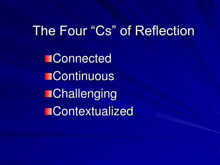 "The Four ""Cs"" of Reflection"