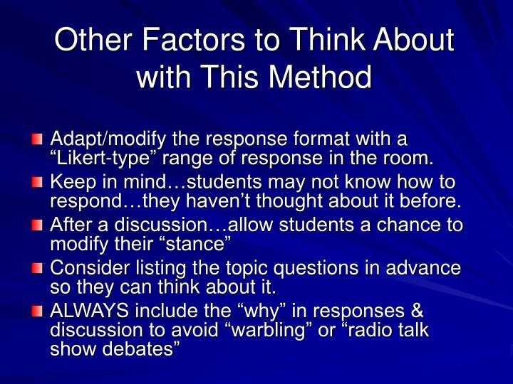Other Factors to Think About with This Method