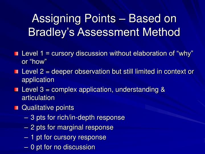 Assigning Points – Based on Bradley's Assessment Method