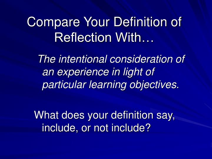 Compare Your Definition of Reflection With…