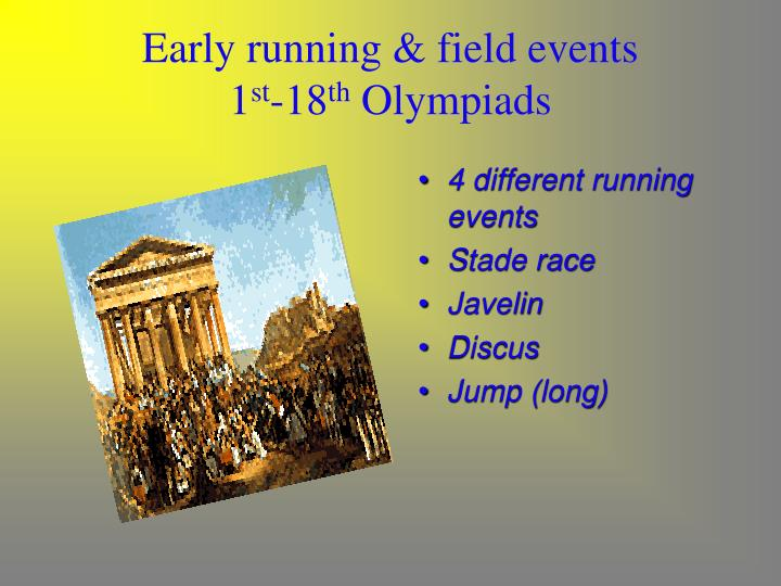 Early running & field events