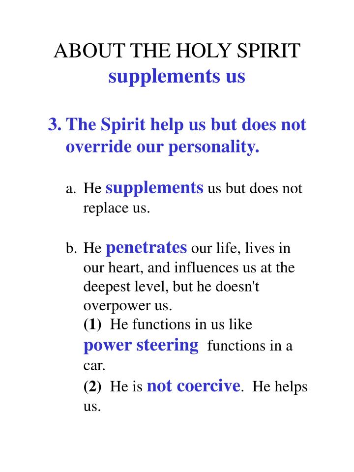 ABOUT THE HOLY SPIRIT
