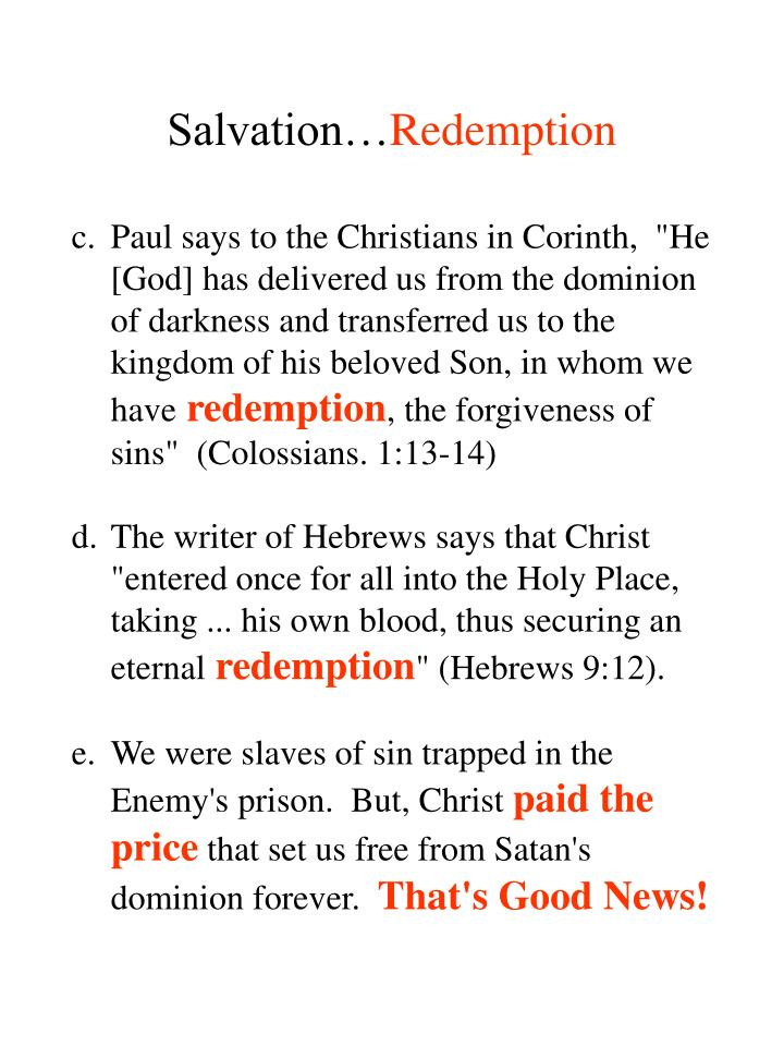 Salvation…