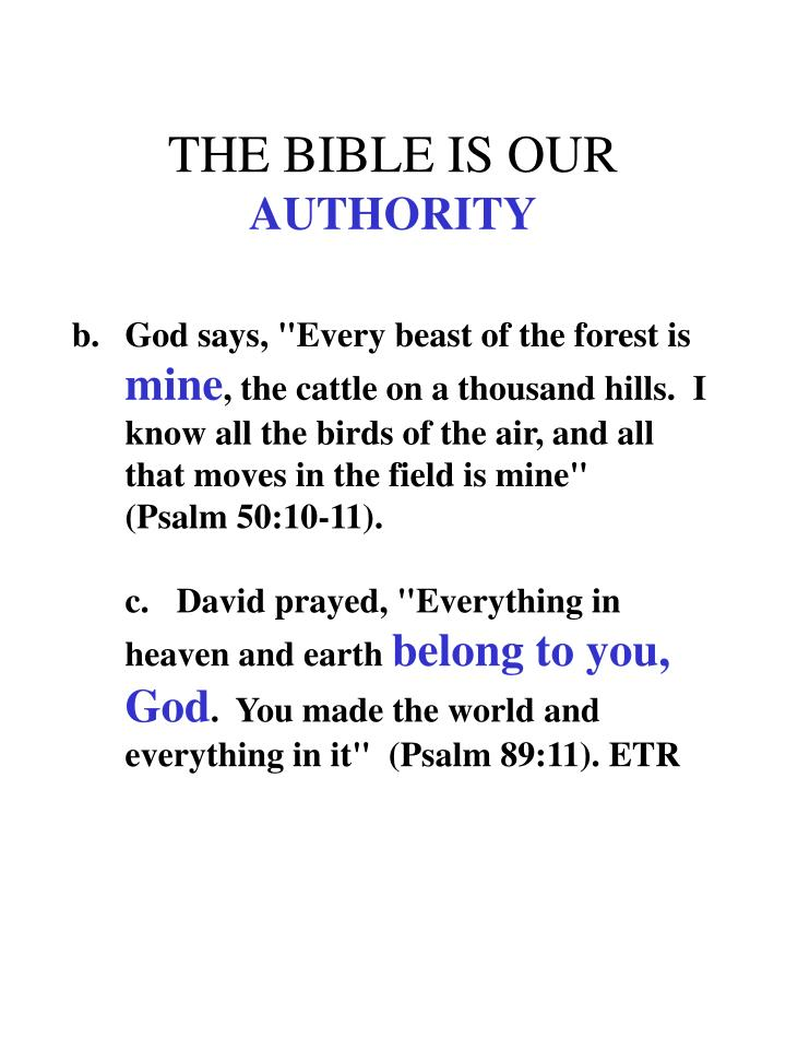 THE BIBLE IS OUR